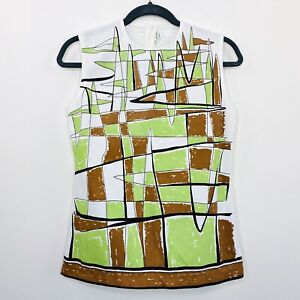 Vintage-60s-70s-Retro-Womens-Top-Blouse-Abstract-White-Size-12-14
