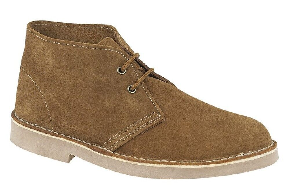 Roamers Desert Boots 2 Eye Unisex Real Suede Leather M467 UK 3-12 Sand Real Sued