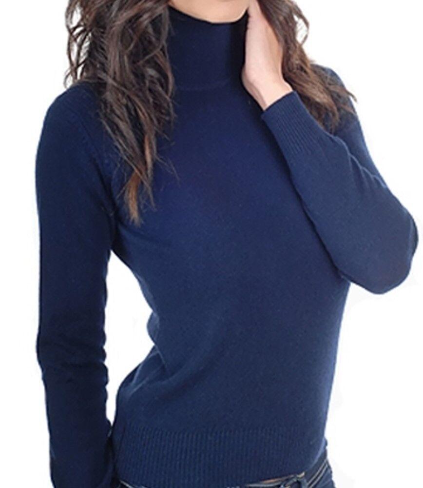 Balldiri 100% Cashmere Damen Pullover Rollkragen mit Bündchen nachtblau L
