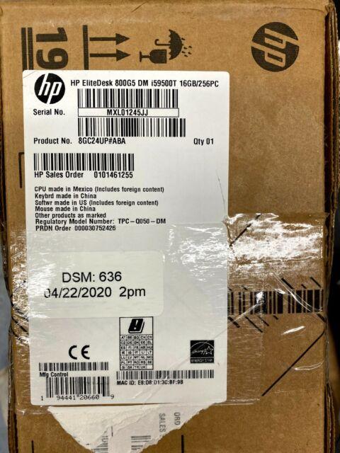 HP EliteDesk 800 G5 Desktop Mini Intel Core i5-9500T- RAM 16 GB - 256GB SSD