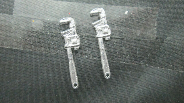 2 Dollhouse Miniature Unfinished Metal Monkey Wrench