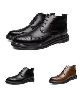 Mens-Ankle-Boots-Oxfords-Brogues-Lace-Up-Pointed-Toe-Formal-Dress-Side-Zip-Shoes