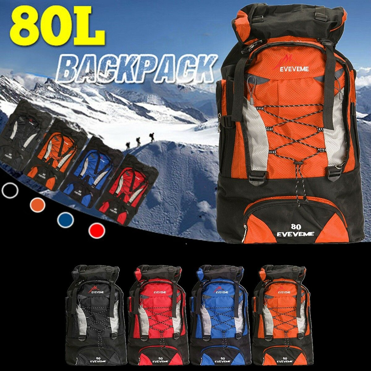 80L Waterproof Backpack Shoulder Hiking Bag Pack Outdoor Camping Trave... - s l1600