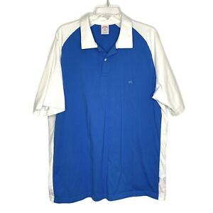 Brooks-Brothers-XXL-Mens-Polo-Shirt-Collared-Short-Sleeve-Blue-White-Logo-Cotton