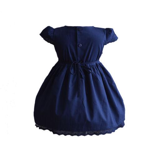Baby Girls Cotton Dress Pink White Yellow Blue 6 9 12 18 24 Months