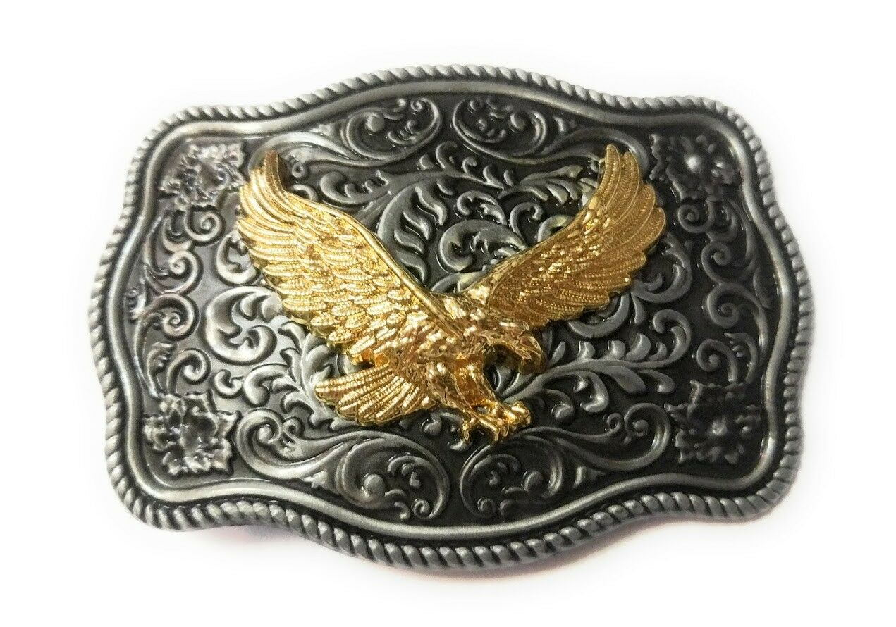 ✖ WESTERN EAGLE Cowboy Rodeo Style ✖ Belt Buckle Buck ✖ gold and pewter color