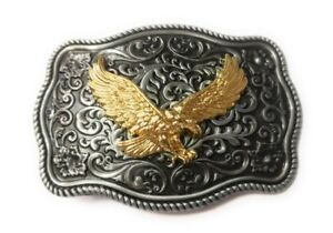 WESTERN-EAGLE-Cowboy-Rodeo-Style-Belt-Buckle-Buck-gold-and-pewter-color