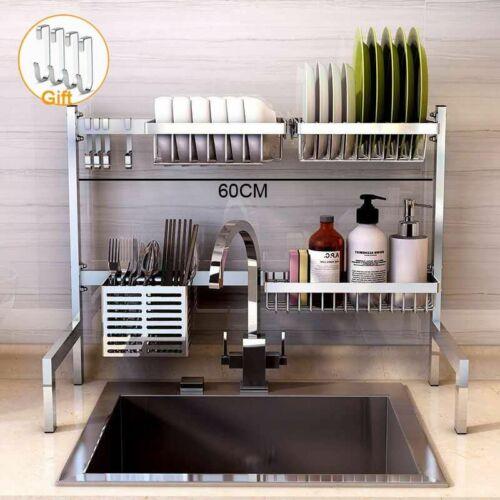Kitchen Shelf Rack Stainless Steel Drying Drain Storage Holders Plates Dish Rack