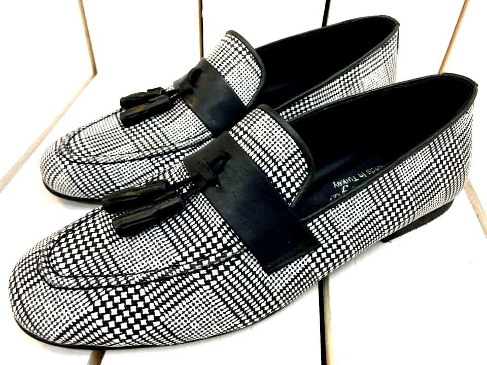 Designer Slipper Loafers noir blanc à Carreaux Mocassin Mocassins chaussures hommes 39