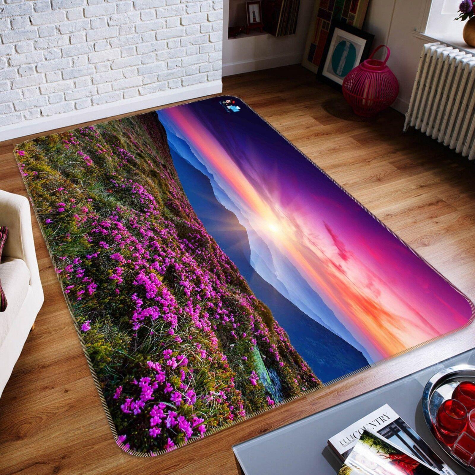 3D viola Flower Field 028 Non Slip Rug Mat Quality Elegant Photo Carpet US Cobb