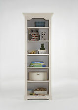 Elsa Whitewash Tall Slim 5 Shelf Bookcase Bookshelf