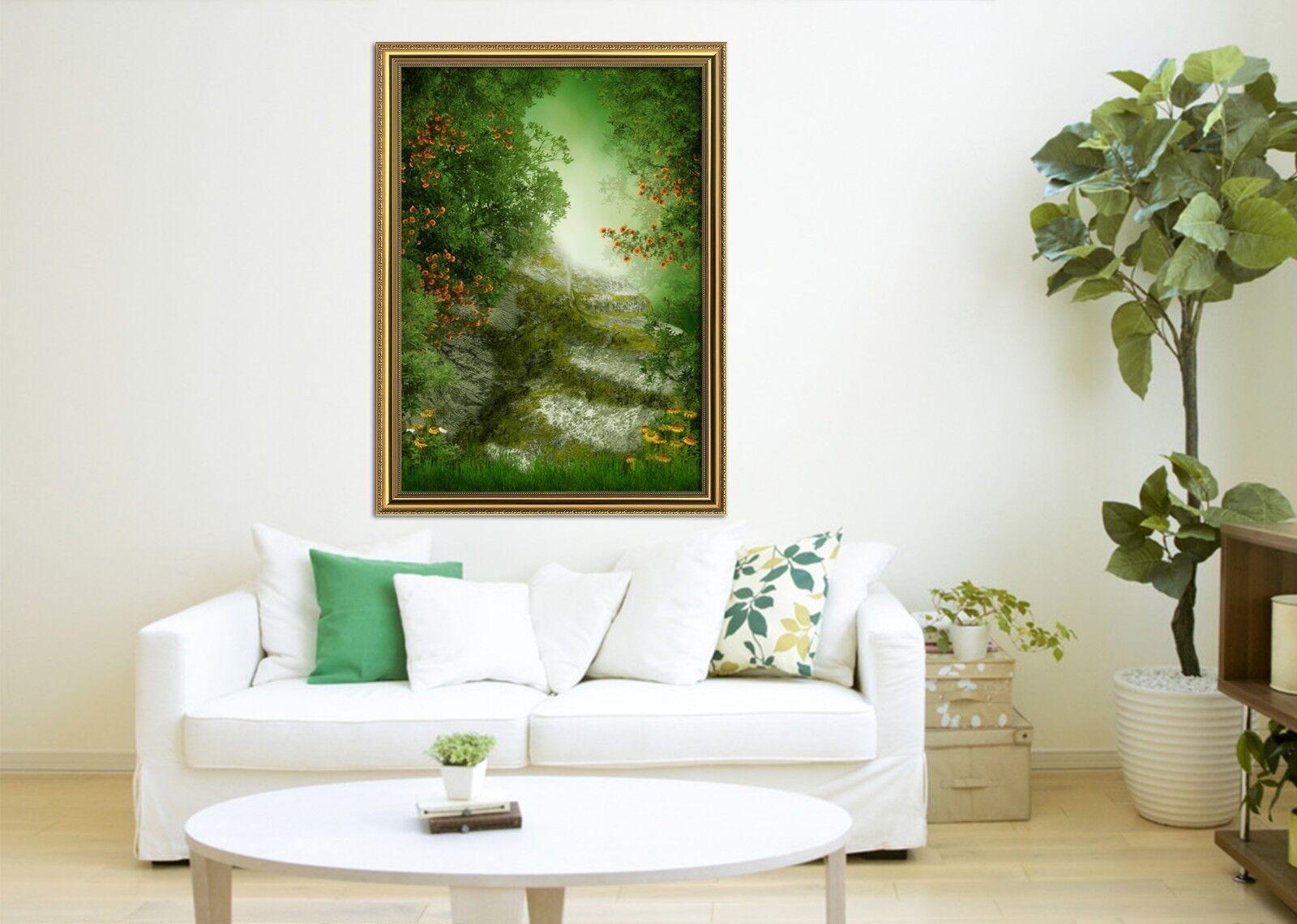 Bosque verde de Niebla 3D 33 Póster Enmarcado Decoración del Hogar Pintura de Impresión Arte AJ Wallpaper