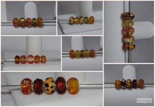 5 x Mixed Brown Charm Beads Murano Lampwork etc Fits European Bracelet