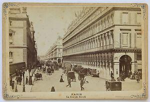 Parigi La Strada Di Rivoli Vintage Albumina 1880