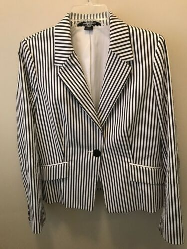 12 Blazer Tracy Ellen Size Lined Striped Women's 7qvWO1T4