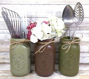 Image Is Loading 3 Earth Toned Rustic Mason Jar Utensil Holders