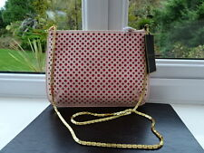 100% Authentic Ted Baker Pierced Leather Pink Clutch / Shoulder Bag Chain BN
