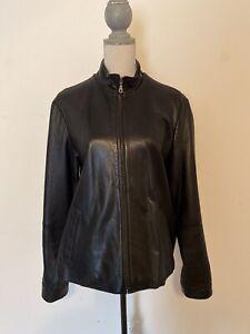 Eddie-Bauer-Womens-Lamb-Leather-Jacket-Zipper-Black-Size-XL
