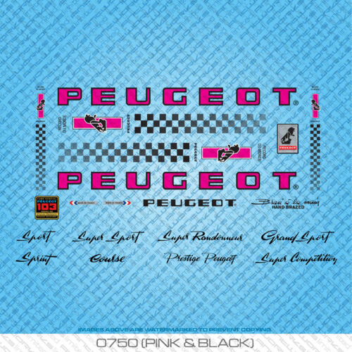 Peugeot PX//PY10 Bicycle Decals Stickers Set 750 Transfers Pink /& Black