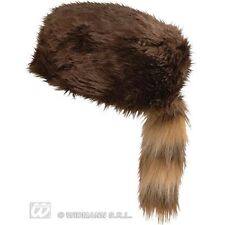 Adult's Raccoon Tail Hat - Davy Crockett Furry Hunting Fancy Dress Accessory