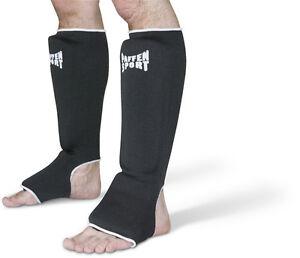 Schienbein-Spannschutz-Paffen-Sport-schwarz-Groessen-S-XL-Muay-Thai-Karate-MMA