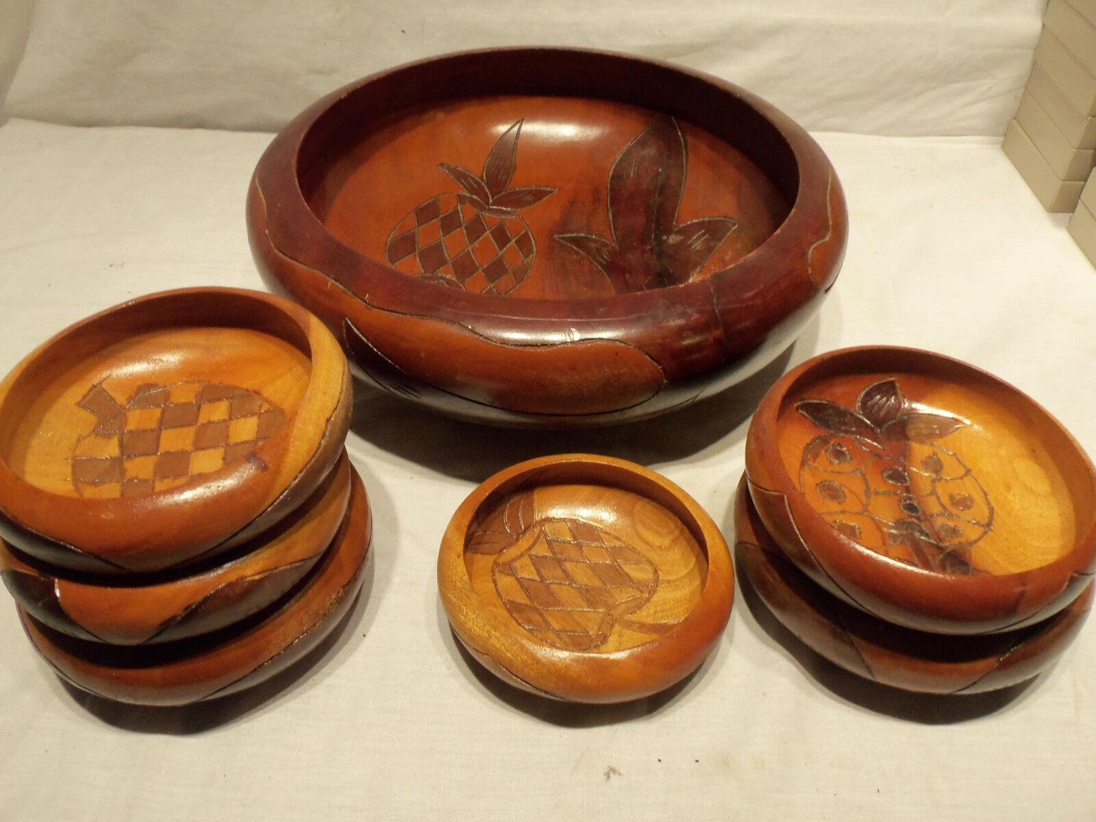 Vintage 7 pc Home Decor Handmade Engraved WOOD Salad Bowl Kitchen Dining Set