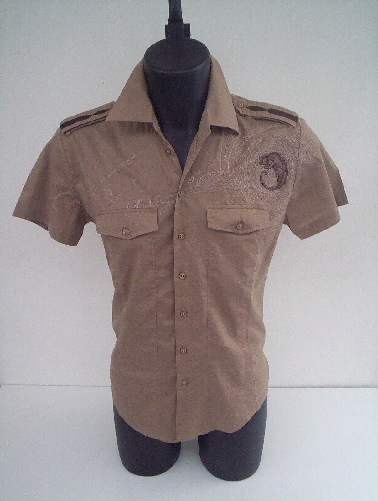 Camicia Roberto Cavalli,manica corta,ricamo JEKO,Marroneee,tg 46
