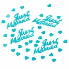 6 x TURQUOISE JUST MARRIED 14g FOIL CONFETTI TABLE SCATTER  DECORATIONS (PA)