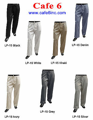 Mens Casual White Linen-Rayon Draw String Pants