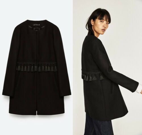 Jacket With Frills Woman M Black Blazer New Medium Zara Rare Pattern Size Coat wInZg8Oq