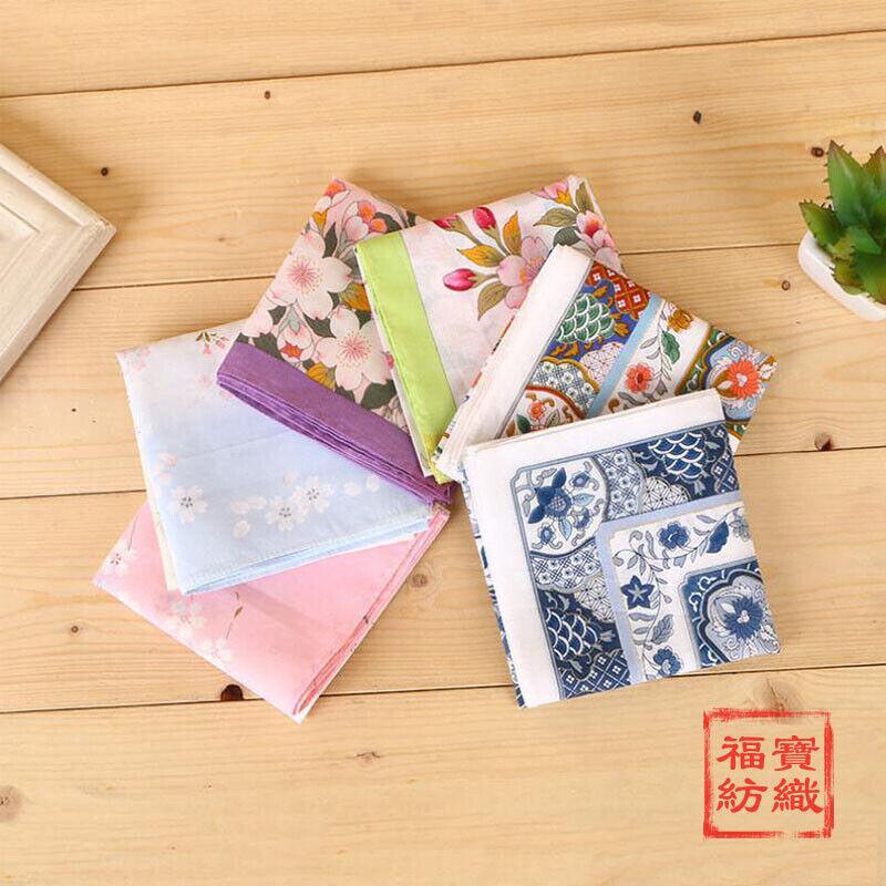 100% Cotton Flower Pattern Handkerchiefs Square Pocket Hanky Men Women 45*45cm