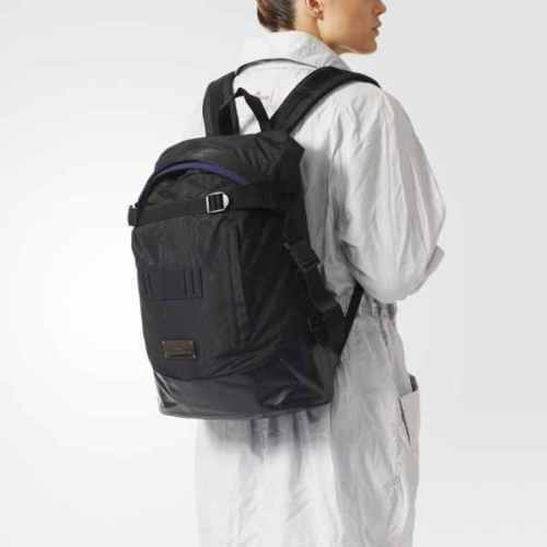 7c7d80147b65 Adidas Stella McCartney Backpack Women s Black Ap9125 Noir Wide Bag RARE  for sale online