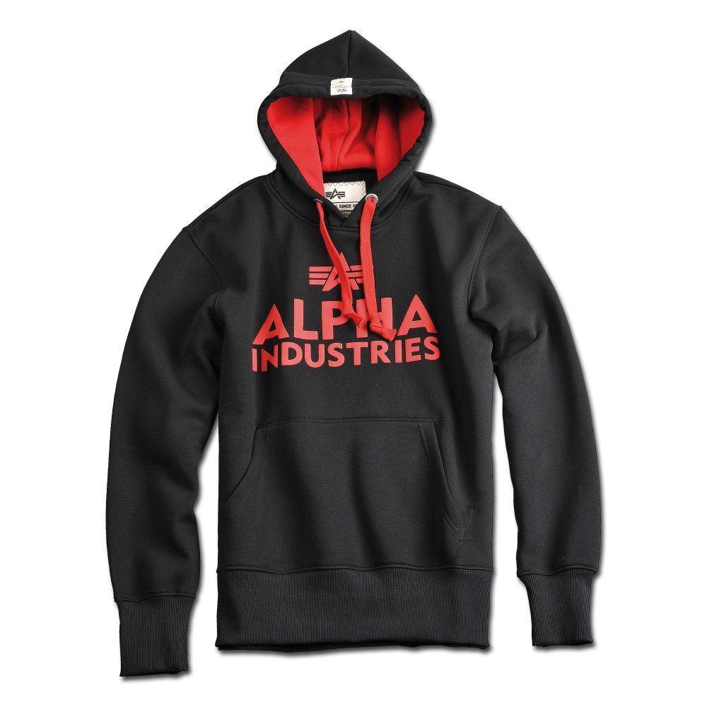 Alpha Industries Hoodie Foam Print Kapuzen Pullover schwarz 100% Baumwolle