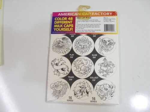 POGS COLORING BOOKS BY AMERICAN CAP FACTORY 4x12 SHEETS 48 POGS METAL SLAMMER