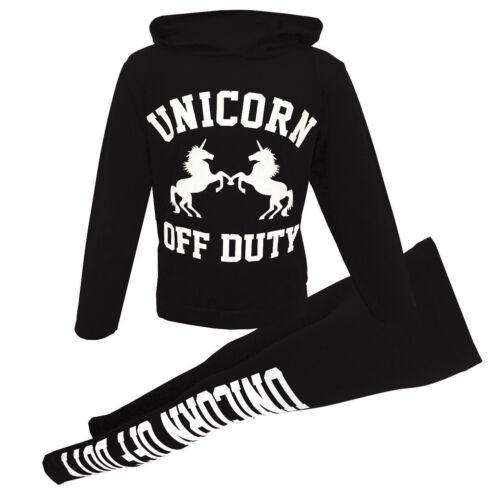 Kids Girls Unicorn Brooklyn 76 Print Hooded Jog Suit Tracksuit Jogging Set New