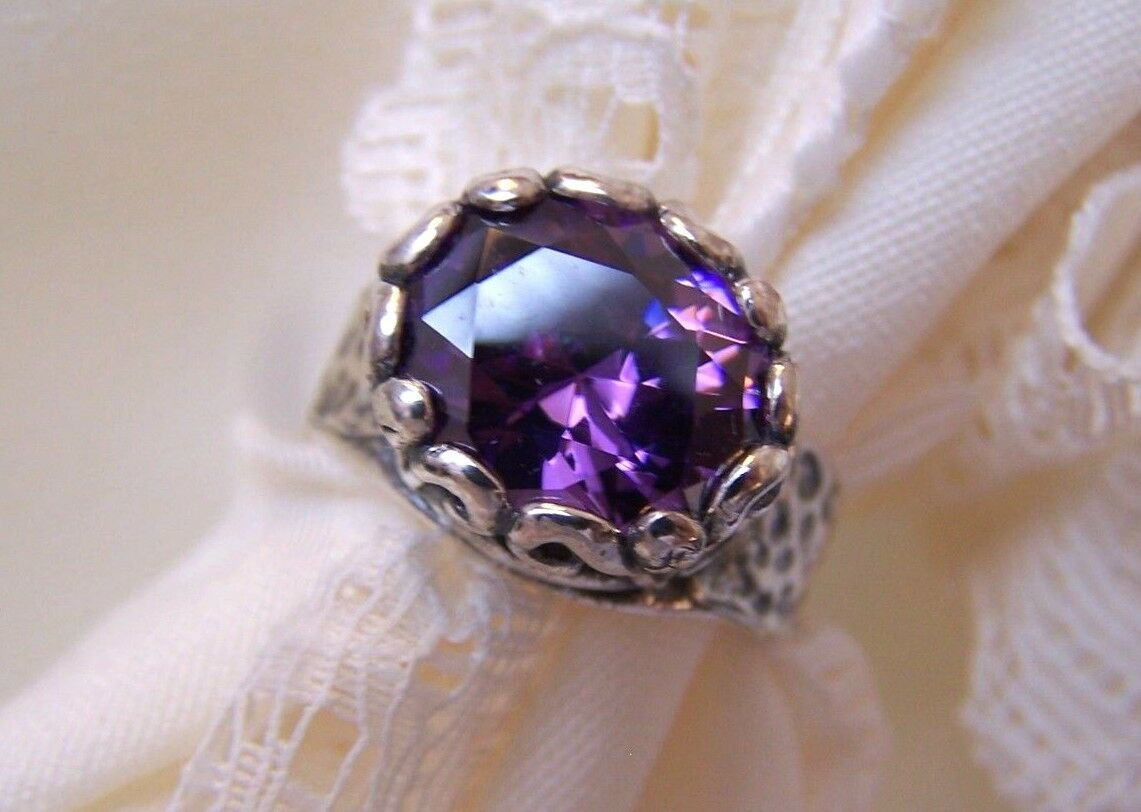 Amethyst, by Didae, Shabool, from Israel, SS, 925 Bold Size 8 NEW with Tags