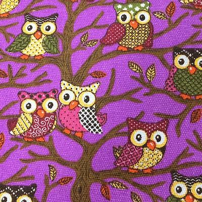 Purple FOREST OWLS Canvas Fabric Material Medium Weight 100% Cotton 150cm Wide