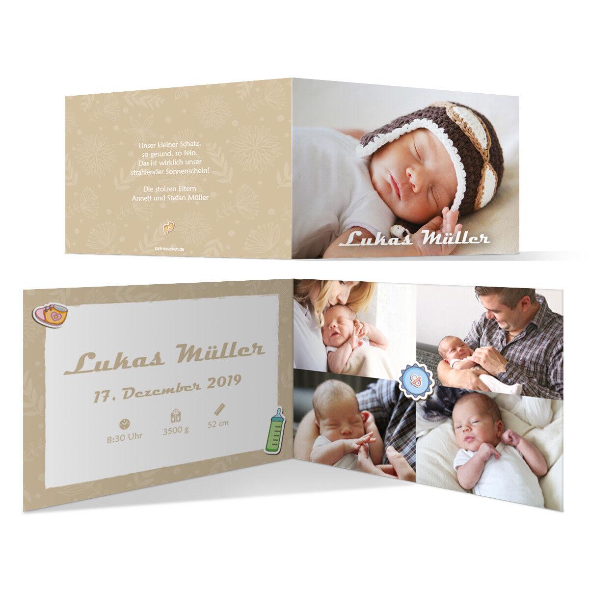 Geburt Danksagungskarten Geburtskarten individuell Fotos Text Schnelles Wachstum | Spielen Sie Leidenschaft, spielen Sie die Ernte, spielen Sie die Welt  | Hervorragende Eigenschaften
