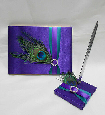 Peacock Feather Purple Teal Guest Book Pen Set Wedding Reception Your Colors