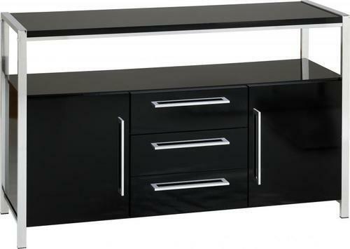 Charisma Modern Stylish Black Gloss /& Chrome 2 Door 3 Drawer Storage Sideboard