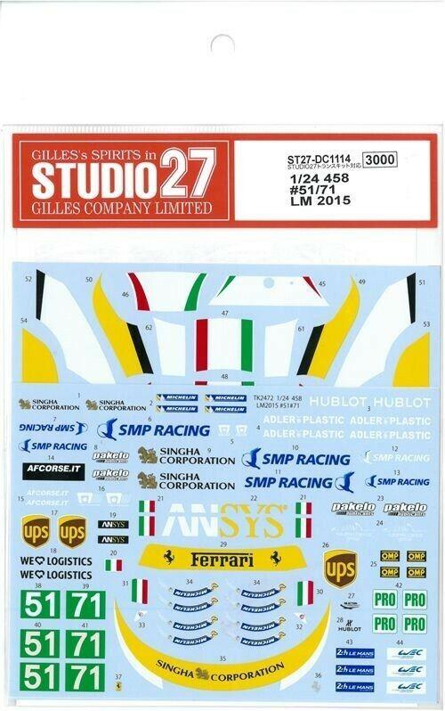 Studio27 1 24 Ferrari 458  51 71  Lm 2015 per Studio27 Dc1114 ADESIVI Nuovo F S  presa di fabbrica