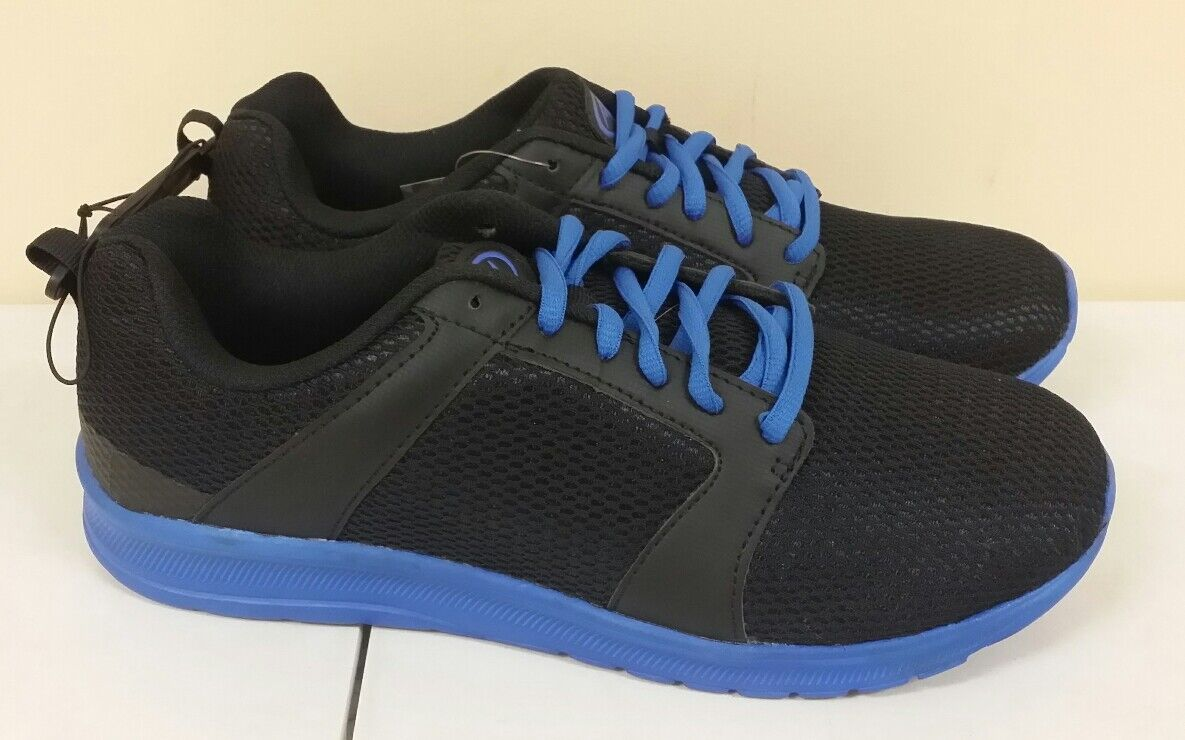 ATHLETIC WORKS 7.5 W Mens Black Running Tennis Shoes Mesh Black Mens Blue Strings NEW 9ea387