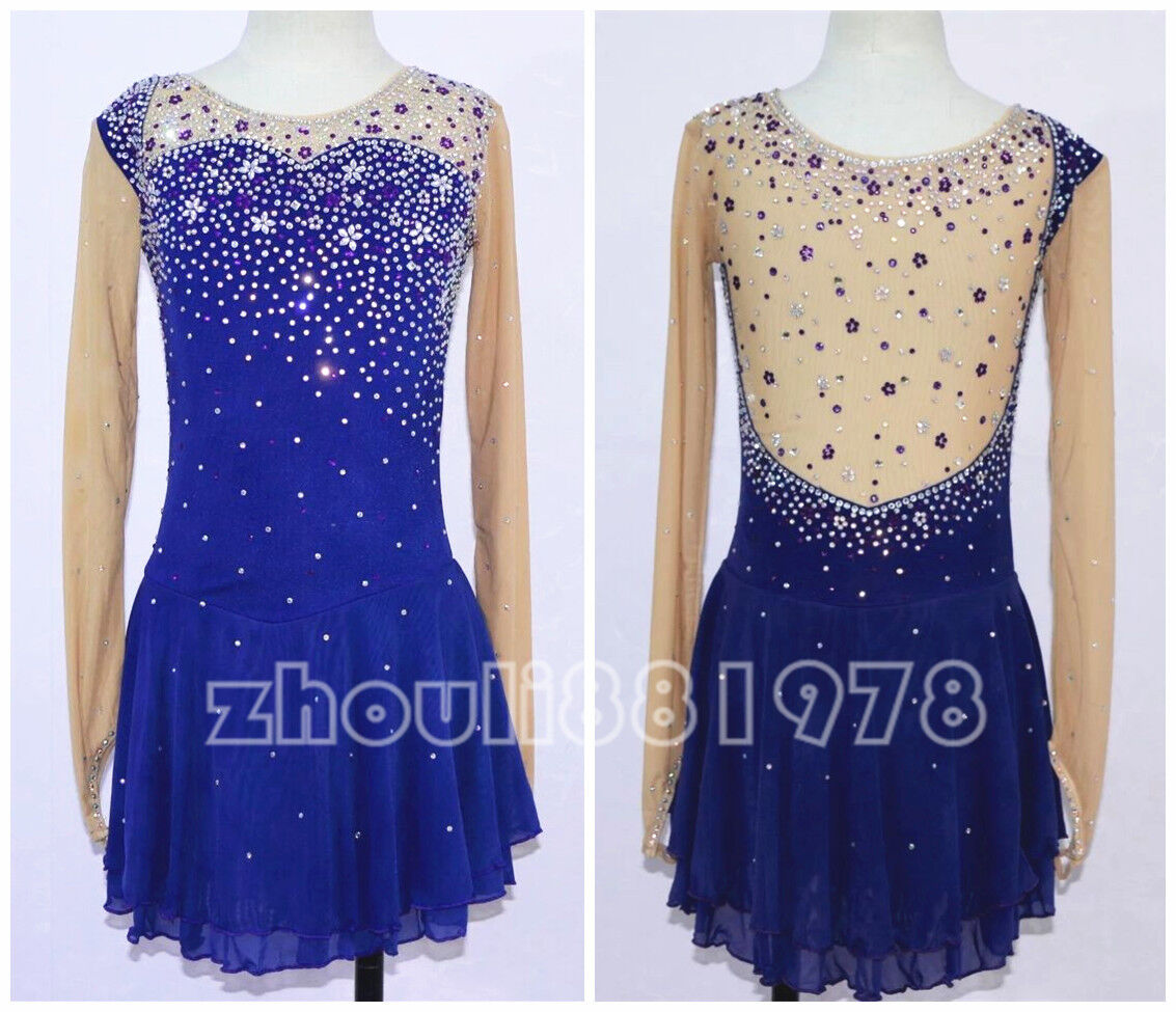 Free Shipping New Competition  Ice Figure Skating Dress For Adults or Girls bluee  sale online