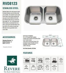 16 gauge stainless steel double bowl kitchen sink revere rvd8123 rh ebay com