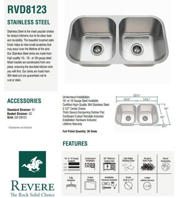 16 gauge Stainless Steel double bowl kitchen sink. Revere RVD8123. 32x18