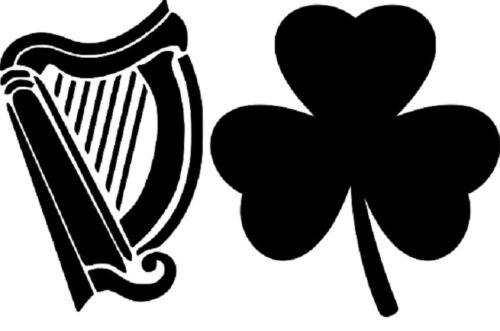 Irish Harp and Shamrock Stencil RE-USABLE