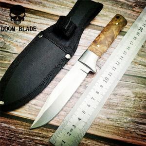 Fixed-Blade-Hunting-Knife-57HRC-Hardness-Wood-Handle-Straight-Knive-Nylon-Sleeve