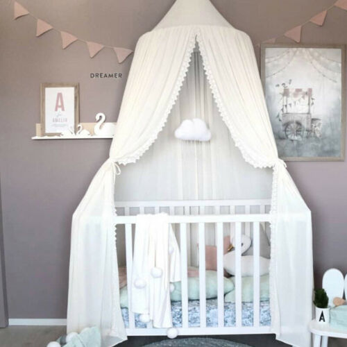 Kid Bed Canopy Bedcover Mosquito Net Curtain Round Dome Tent Chiffon Bedding H1