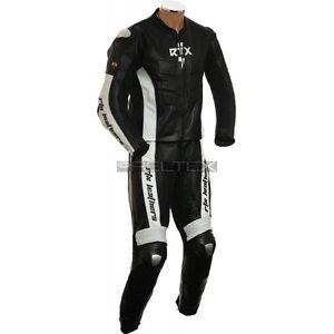 RTX-Blade-Nero-amp-Bianco-Professionale-Due-Pezzi-CE-Pelle-Motocicletta