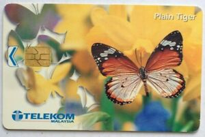 Malaysia-Used-Phone-Cards-Butterfly-Plain-Tiger